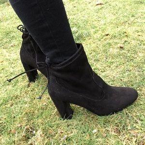 Trendy black sock bootie